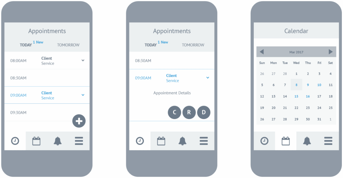case study: wireframing - business/client app: business