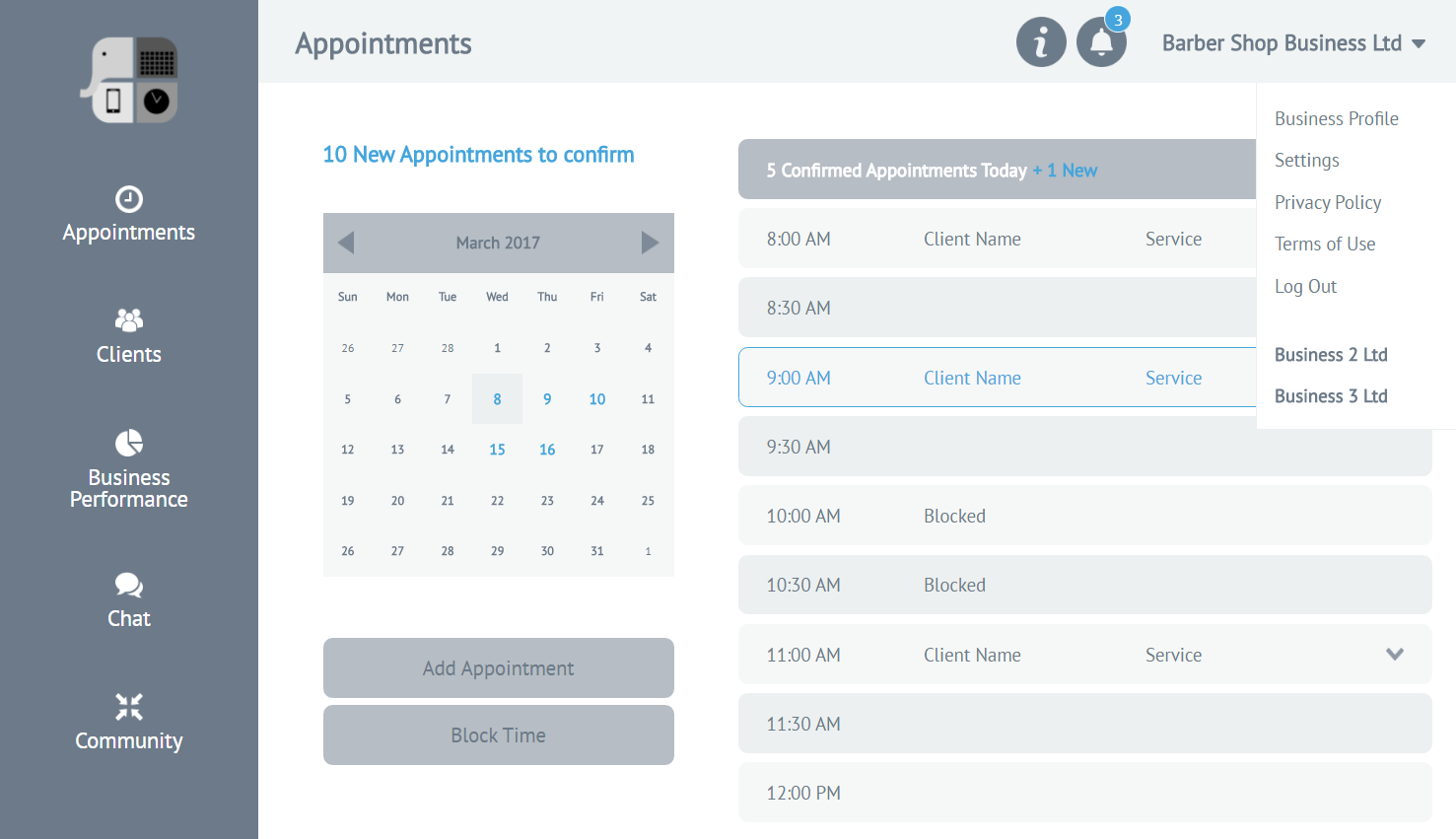 appointments-menu