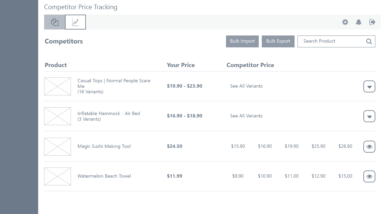case study: wireframing - competitor tracking dashboard: competitors