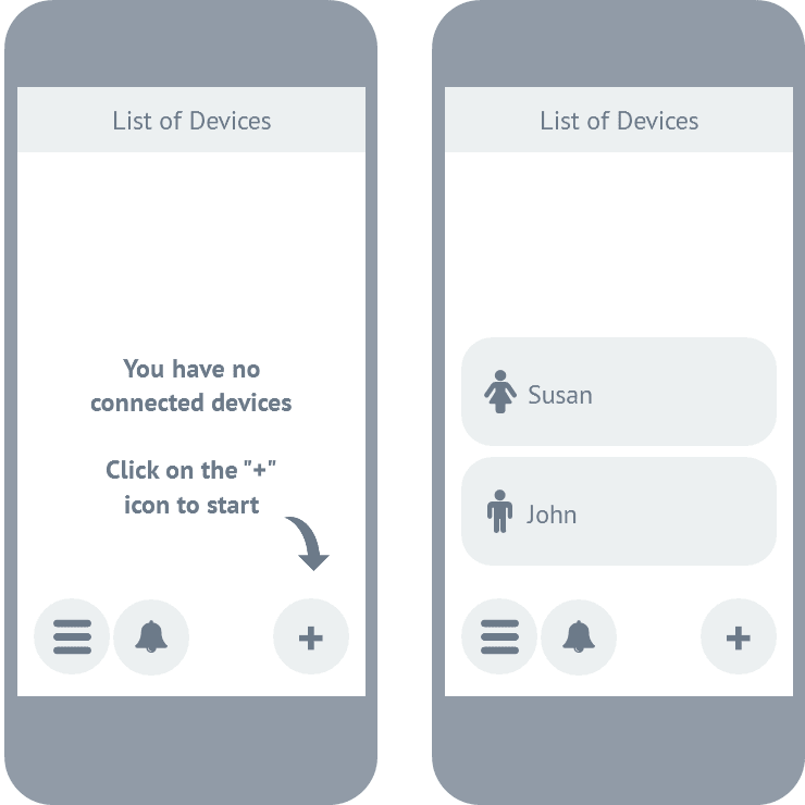 case study: wireframing - personal safety app: list of devices