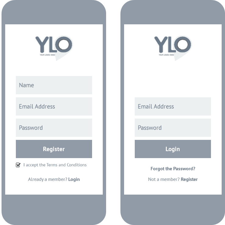 case study: wireframing - personal safety app: register and login
