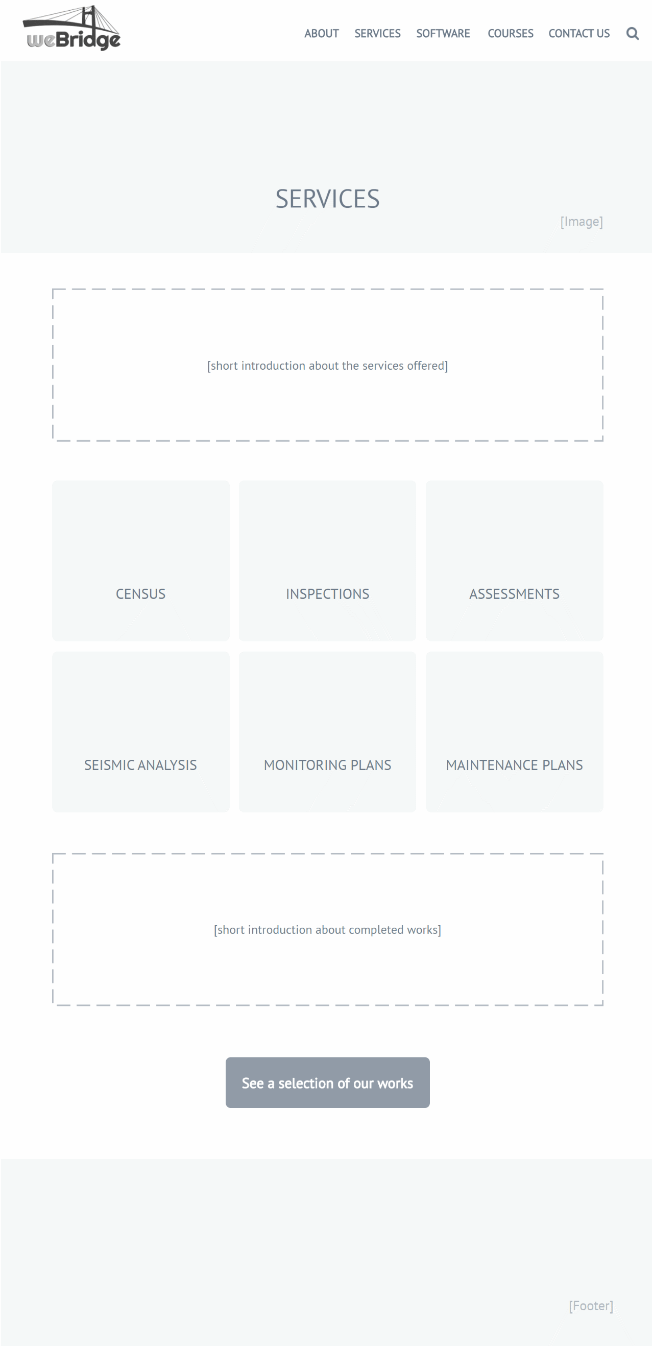 case study: wireframing - service company website: services
